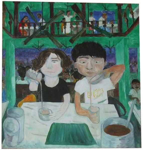 Painting of two people in a cafe in India