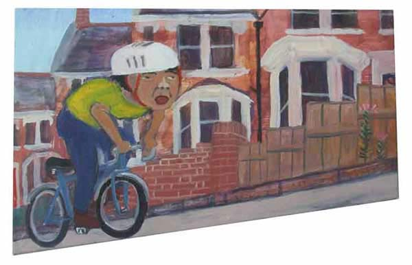 Painting of a cyclist cycling uphill