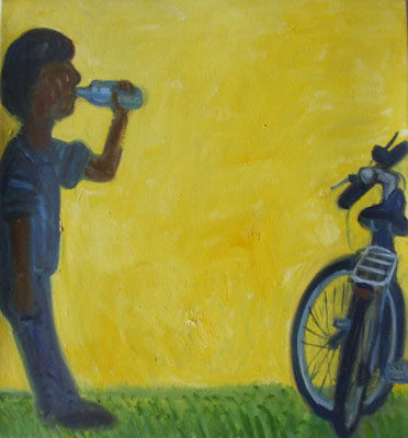 Painting of a man drinking from a bottle next to a bicycle