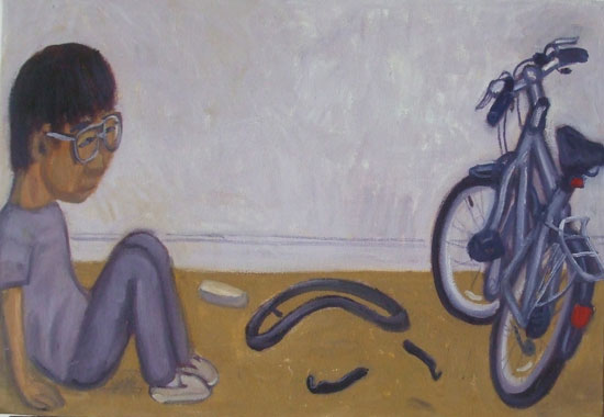 Painting of a man repairing bicycle puncture